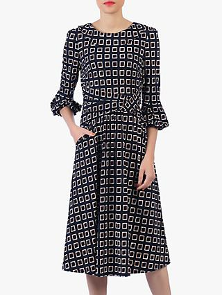 Jolie Moi Roll Collar Shift Dress, Navy/Multi