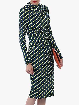 Jolie Moi Twist Body Con Dress, Yellow Geo