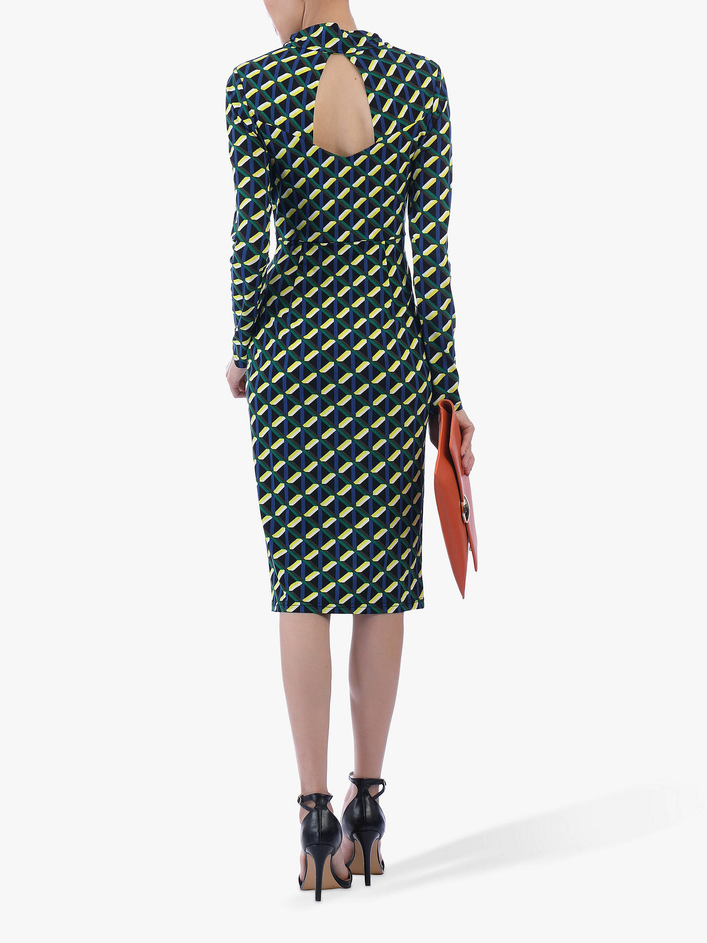 Buy Jolie Moi Twist Body Con Dress, Yellow Geo, 14 Online at johnlewis.com