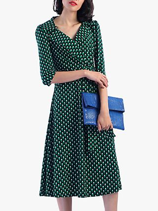 Jolie Moi Vintage Cross Front Tea Dress, Green Geo