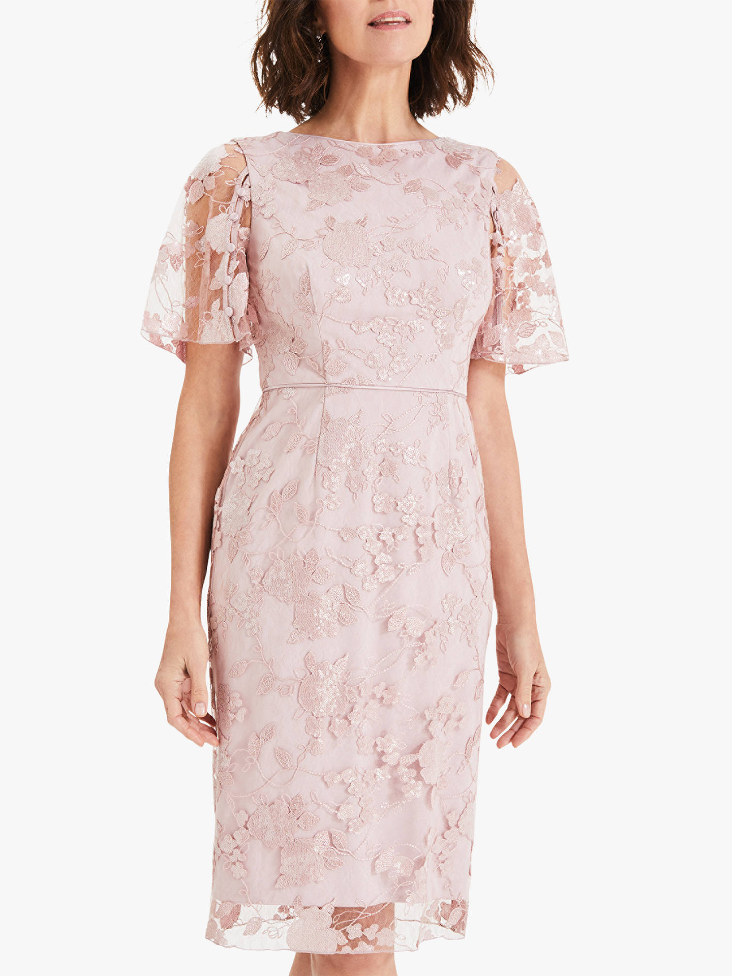 Phase Eight Harlow Sequin Lace Dress Dusty Rose