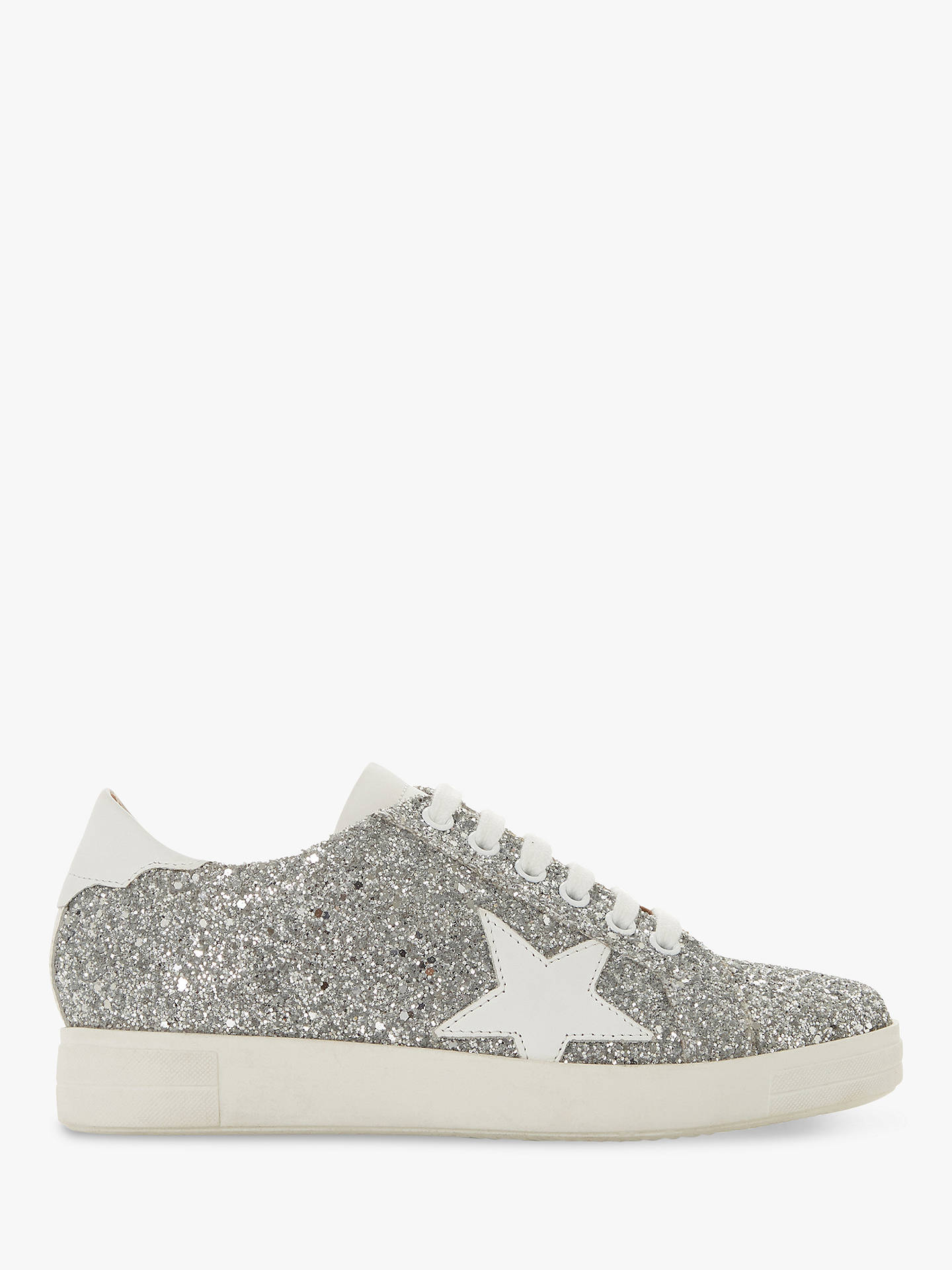 f07728a95693 Buy Dune Edris Glitter Lace Up Star Trainers, Silver Leather, 3 Online at  johnlewis ...