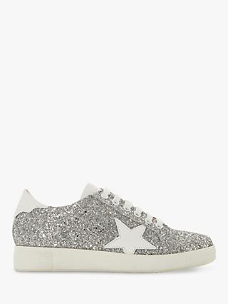 Dune Edris Glitter Lace Up Star Trainers, Silver Leather