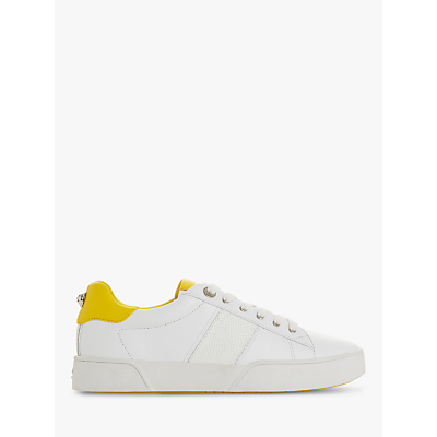 Dune Elsie Lace Up Trainers, Leather Yellow