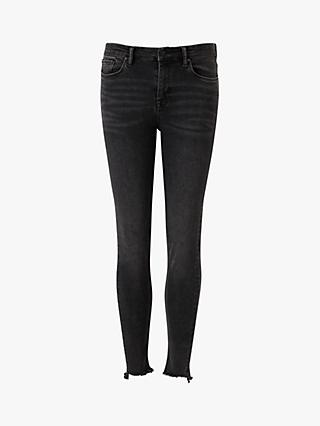 AllSaints Grace Bi-Stretch Ankle Fray Jeans, Black