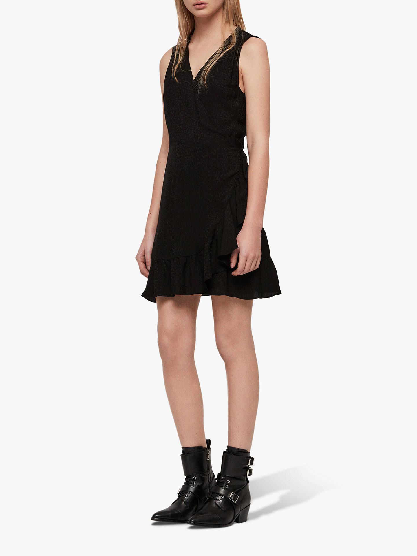 AllSaints Krystal Jacquard Animal Wrap Dress, Black Leopard
