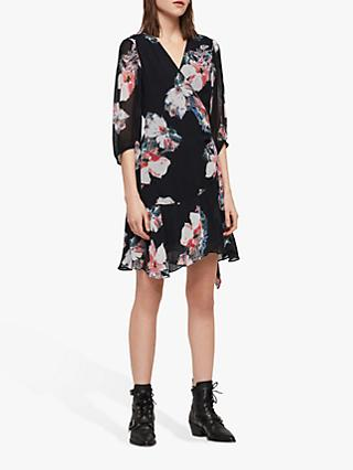 AllSaints Jade Violy Floral Dress, Ink Blue
