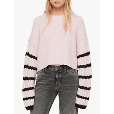 AllSaints Eldon Cropped Jumper, Baby Pink/Black