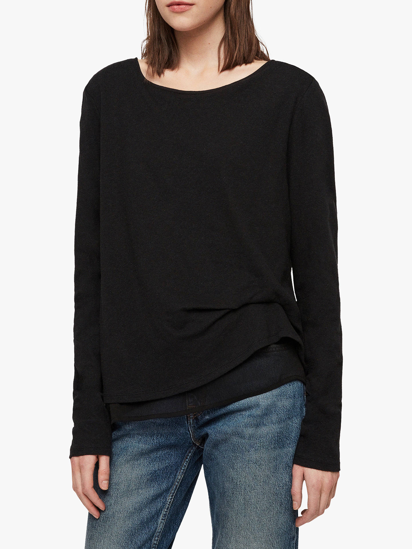 221e2f7d893f Buy AllSaints Bev Mira Long Sleeve T-Shirt, Black, S Online at johnlewis ...