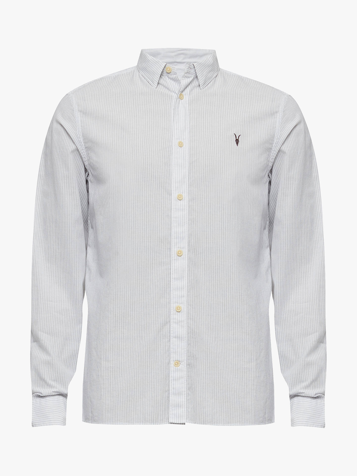 93f5b74d9946 Buy AllSaints Canby Dobby Stripe Slim Fit Long Sleeve Shirt, Off White/Ink,  ...