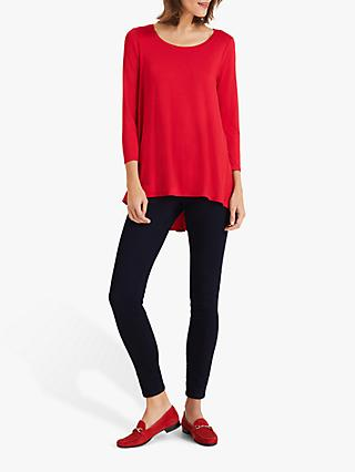 Phase Eight Rowena Dipped Hem Blouse, Red