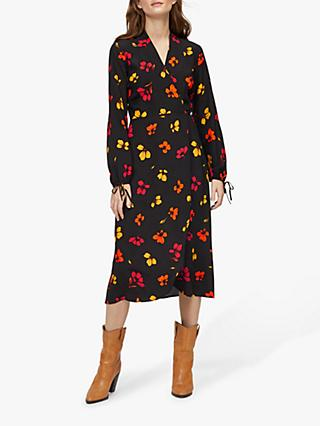 Warehouse Sunset Floral Wrap Dress, Black/Multi