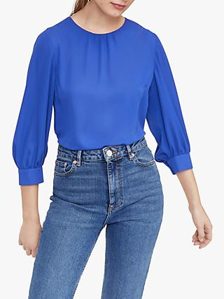 Warehouse Bubble Sleeve Top, Bright Blue