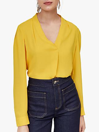 Warehouse V-Neck Pleat Top