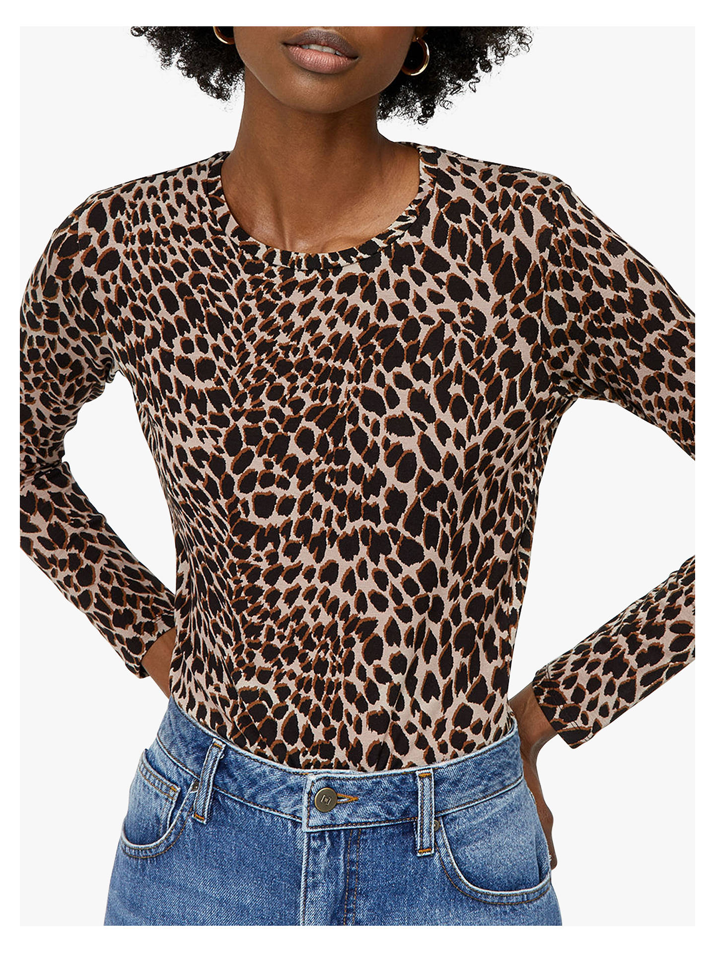 24e086ed1bbb Buy Warehouse Round Neck Leopard Print Top, Multi, 14 Online at  johnlewis.com ...