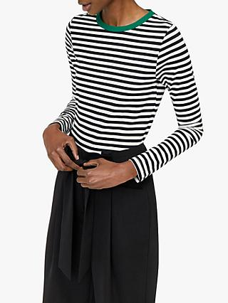 Warehouse Contrast Striped Jersey Top