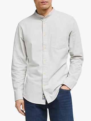 1da98874 John Lewis & Partners Stripe Grandad Collar Regular Fit Shirt, White/Blue