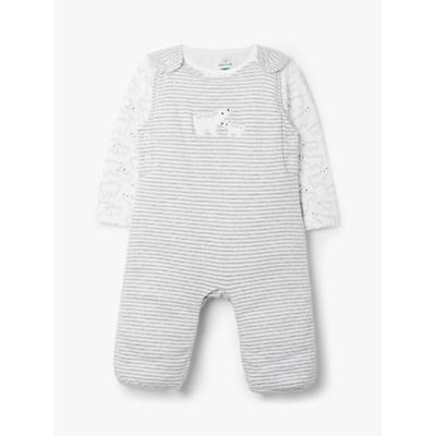 John Lewis & Partners Baby GOTS Organic Cotton Bear Dungaree Set, Grey