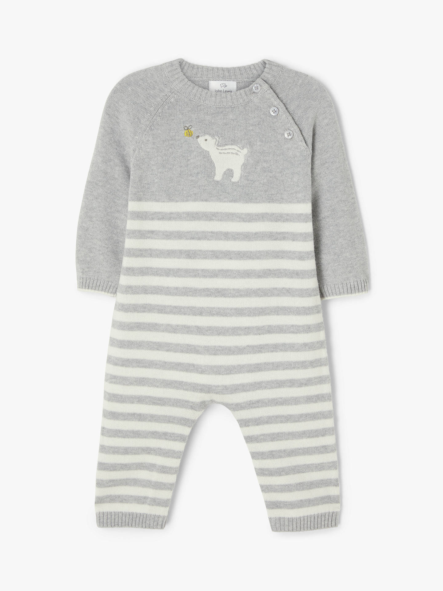 John Lewis & Partners Baby Gots Organic Cotton Bear Knit Romper, Light Grey by John Lewis & Partners