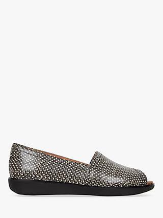 FitFlop Nadia Peep Toe Loafers, Black/White Leather