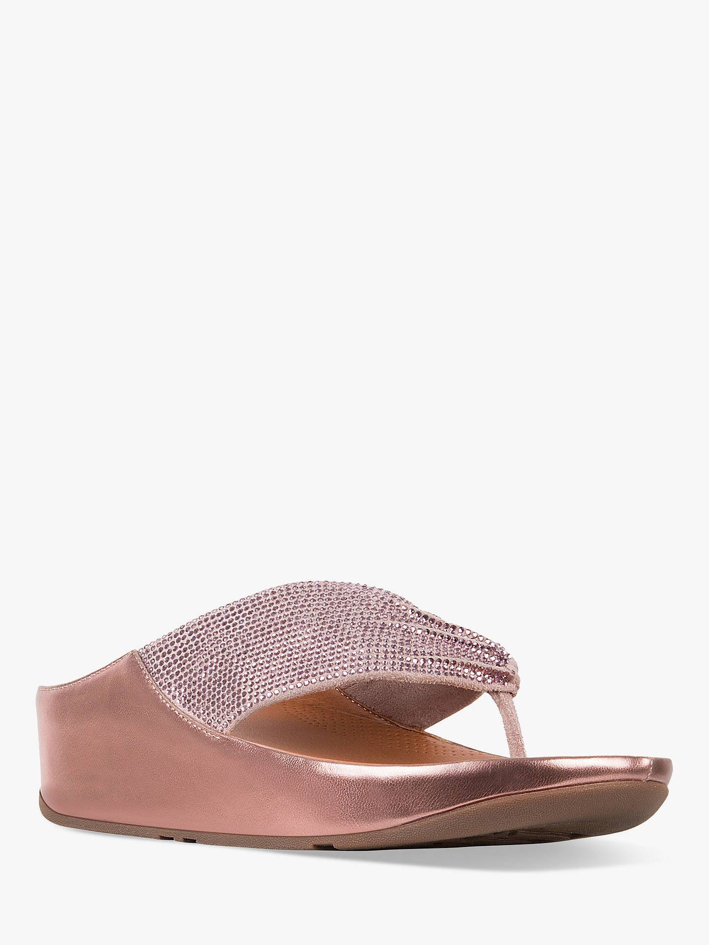 quality design c9dbf 3cd61 FitFlop Twiss Crystall Toe Post Sandals, Pink at John Lewis ...