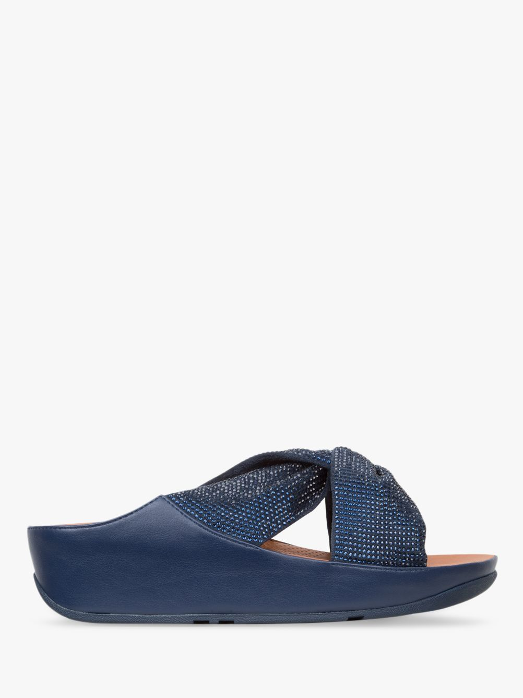 56aff51fa FitFlop Twiss Crystal Cross Strap Slide Sandals