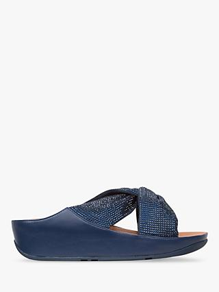 FitFlop Twiss Crystal Cross Strap Slide Sandals, Navy