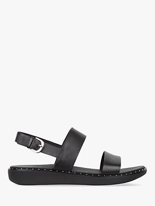 FitFlop Barra Double Strap Sandals, Black Leather
