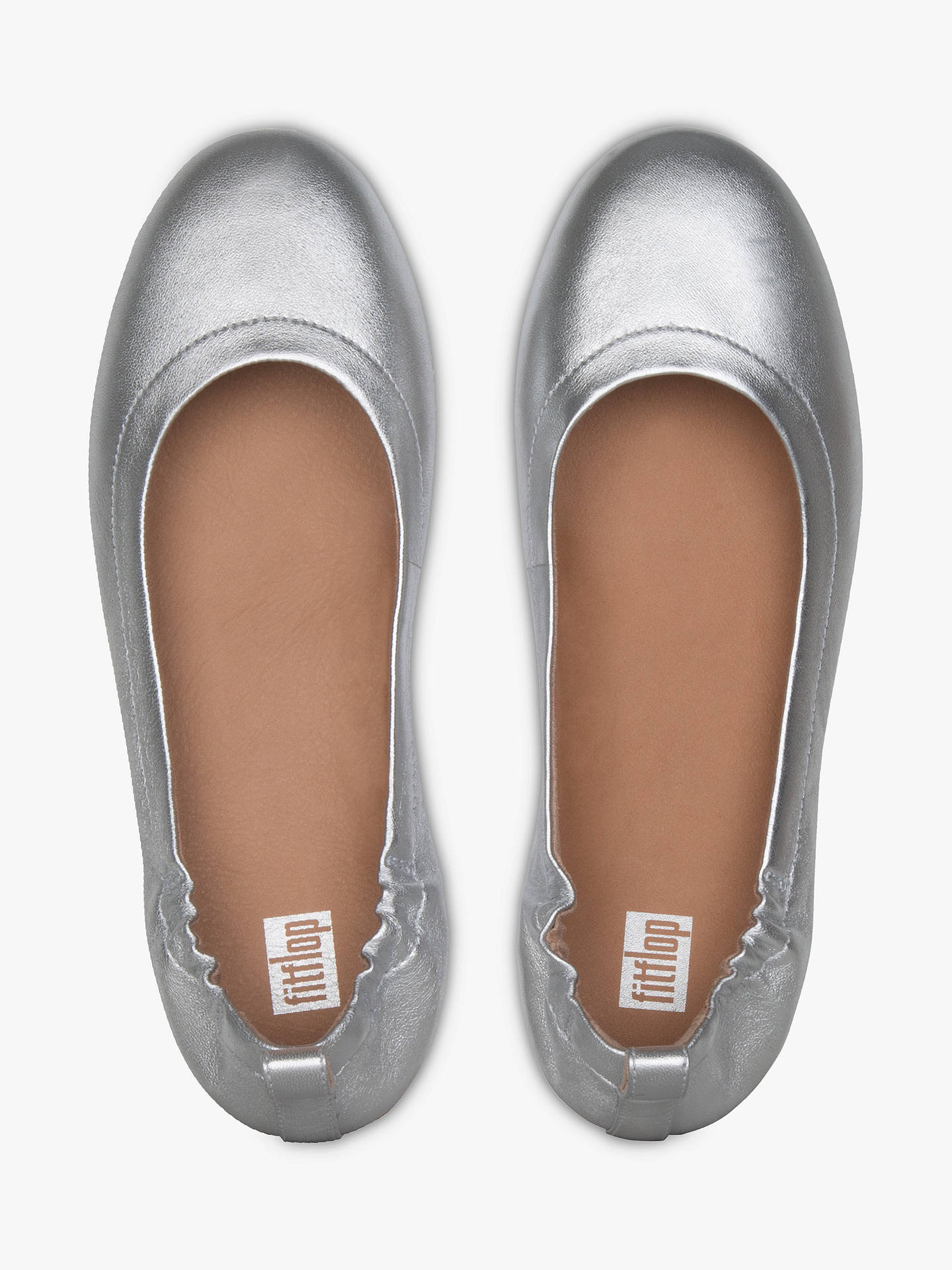 Buy Fitflop Allegro Flat Pumps, Silver Leather, 3 Online at johnlewis.com
