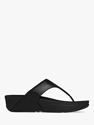 FitFlop Lulu Toe Post Flip Flops, Black Leather