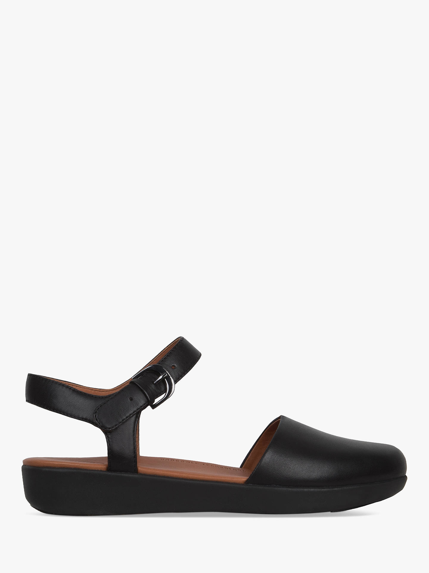 BuyFitFlop Cova Closed Toe Sandals, Black Leather, 6 Online at johnlewis.com