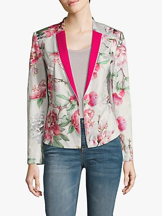 Betty & Co. Floral One Button Blazer, Stone Pink