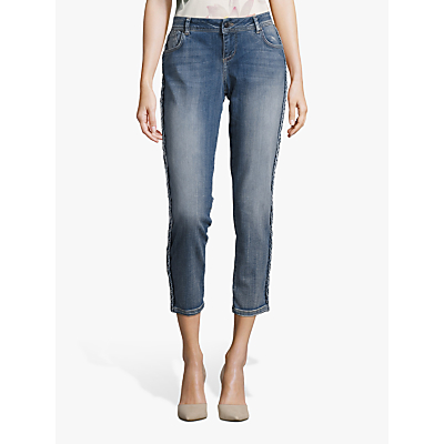 Betty & Co. Cropped Plait Jeans, Blue Denim