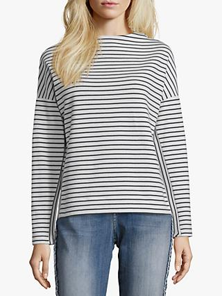 Betty & Co. Striped Dropped Shoulder Top, White/Blue