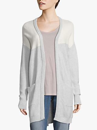 Betty & Co. Ribbed Edge Cotton Cardigan, Silver/White