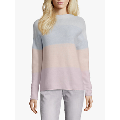 Betty & Co. Cotton Colour Block Top, Silver Rose