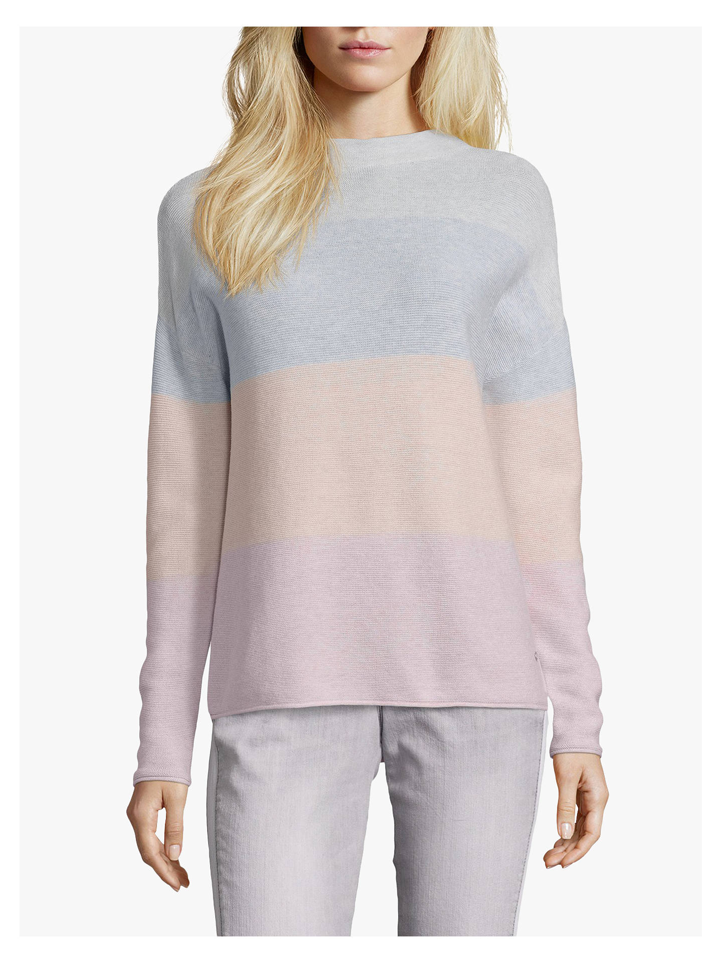 Buy Betty & Co. Cotton Colour Block Top, Silver Rose, 14 Online at johnlewis.com