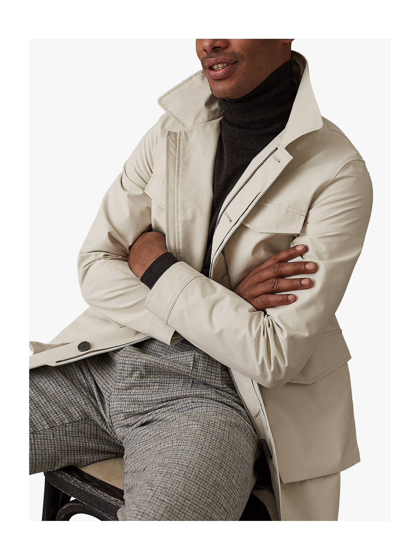 Buy Reiss Archer Four Pocket Mac with Detachable Hood, White, XS Online at johnlewis.com