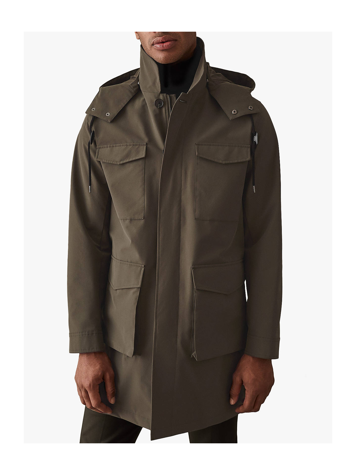 Buy Reiss Archer Four Pocket Mac with Detachable Hood, Khaki, XS Online at johnlewis.com