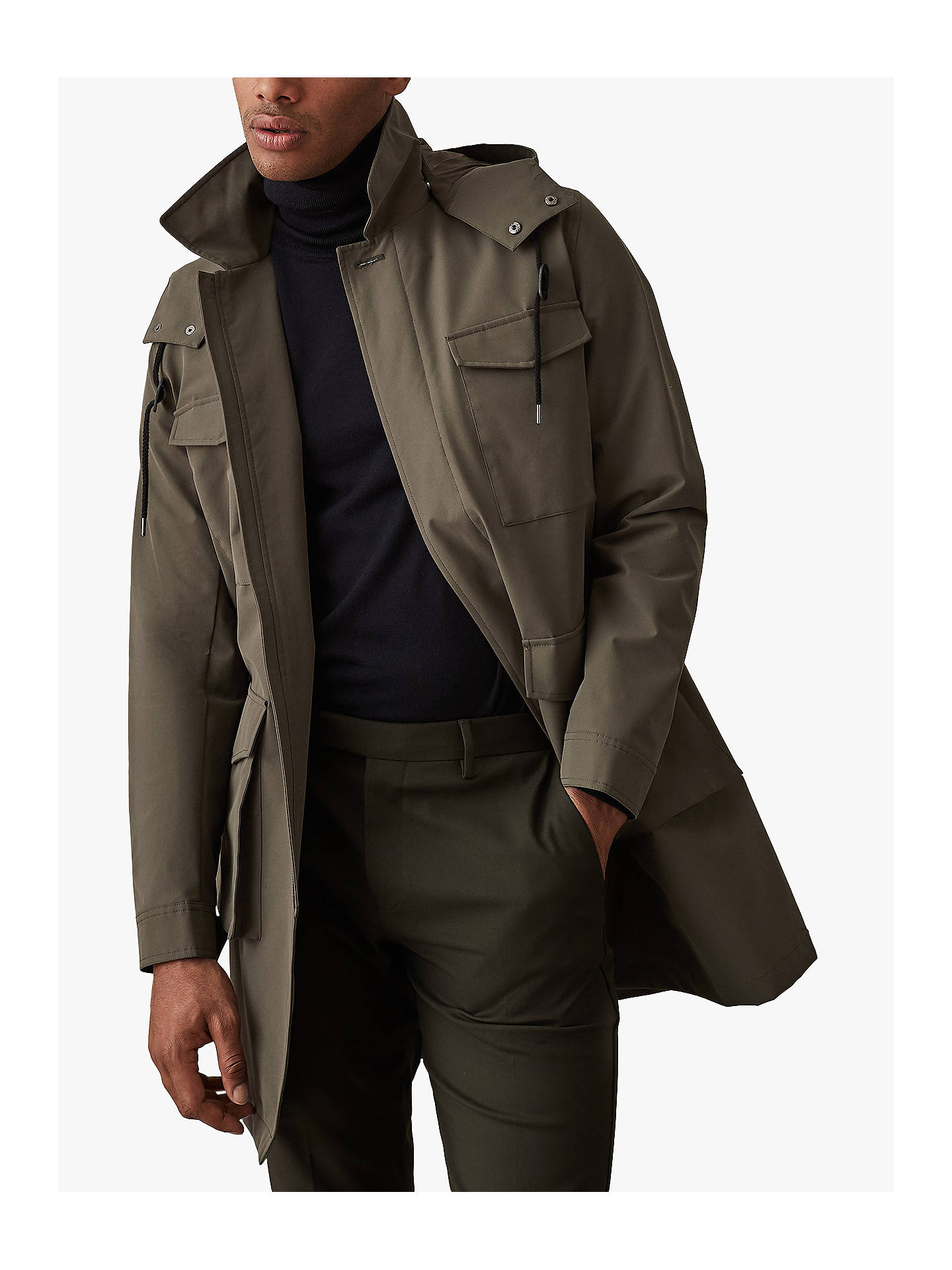 Buy Reiss Archer Four Pocket Mac with Detachable Hood, Khaki, XXL Online at johnlewis.com