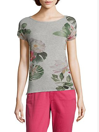 Betty & Co. Floral Print T-Shirt, Silver/White