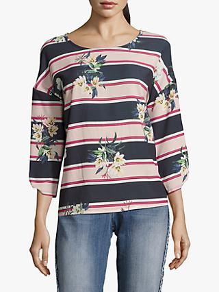 Betty & Co. Floral Stripe Top, Blue/Multi
