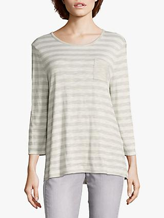Betty & Co. Striped Jersey Top, Silver/White