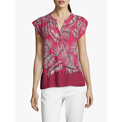 Betty & Co. Palm Print Blouse, Blue/Pink