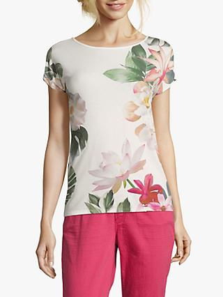 Betty & Co. Floral Print T-Shirt, White/Rose