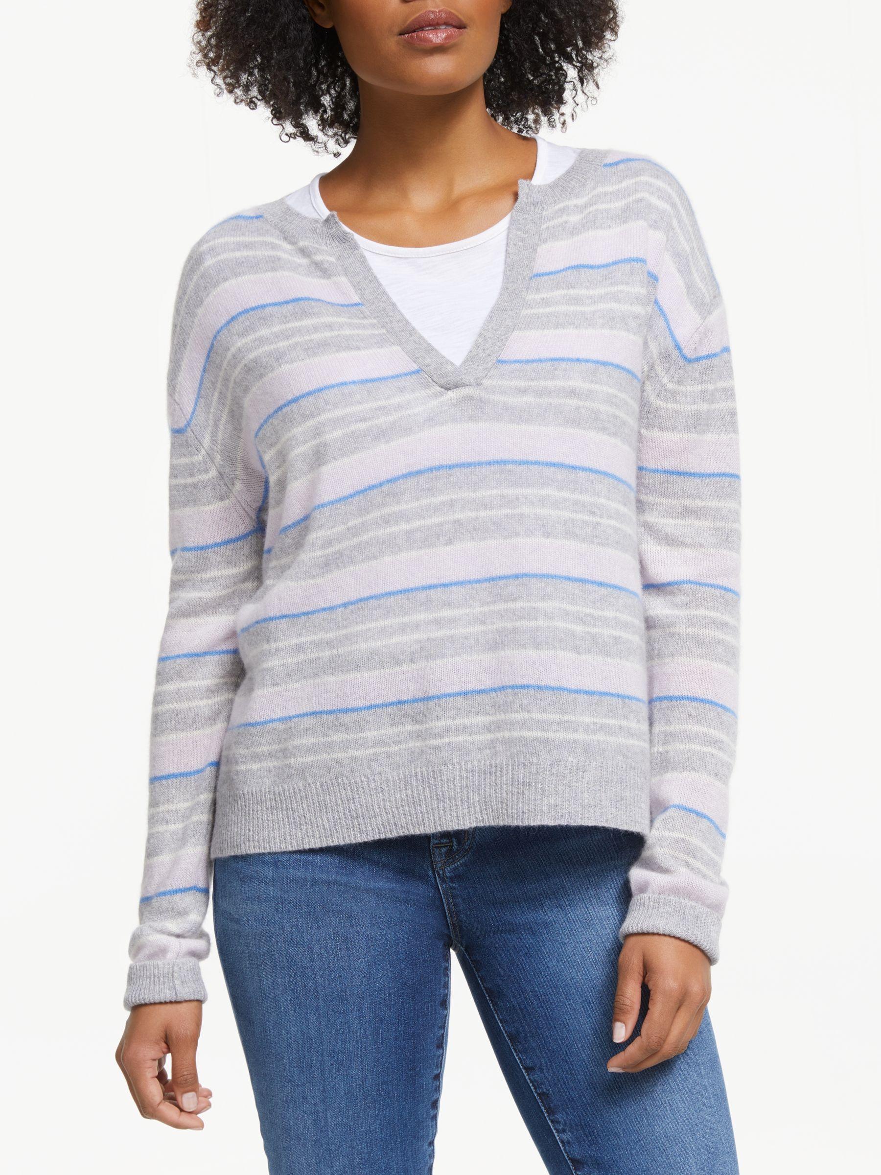 360 Sweater Rosa Stripe Cashmere Jumper, Heather Grey at