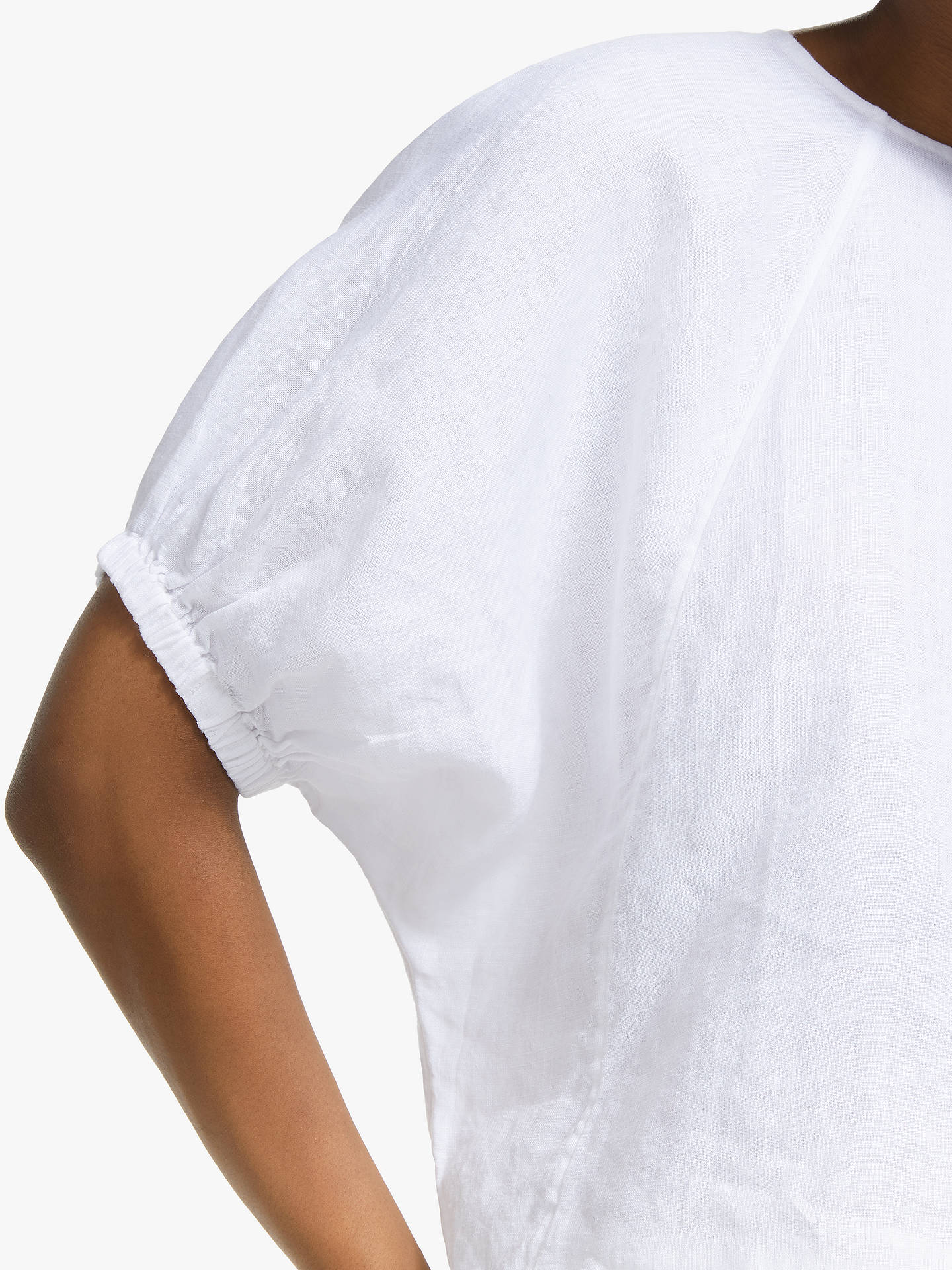 Buy John Lewis & Partners Linen Gathered Sleeve Blouse, White, XS Online at johnlewis.com