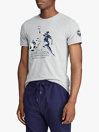 344e7fee Polo Ralph Lauren Short Sleeve Wimbledon Graphic T-Shirt, Andover Heather
