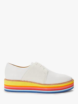 Rogue Matilda Wannabe Flatform Brogues, White/Rainbow