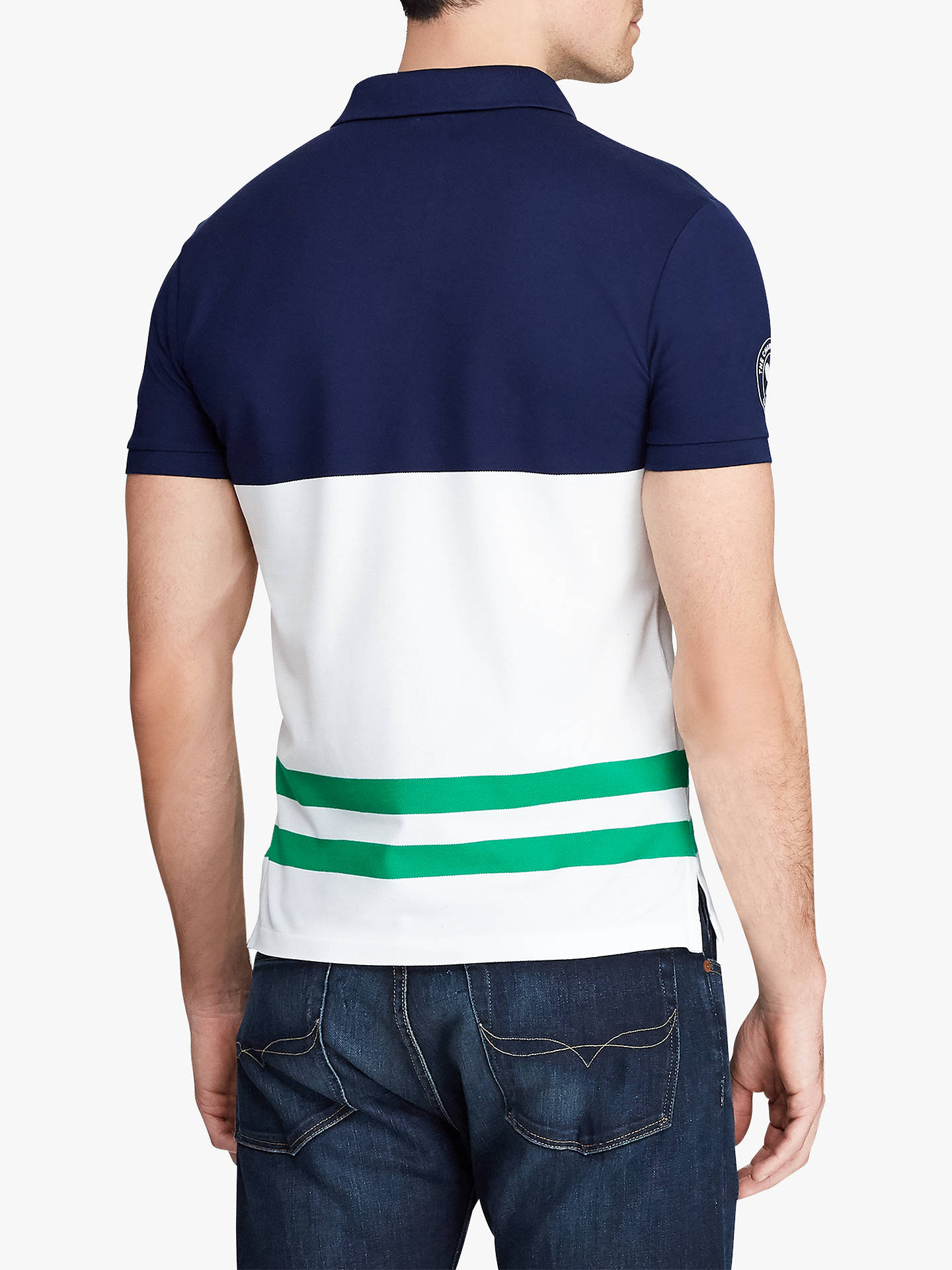 22d569bb54 Polo Ralph Lauren Wimbledon Stretch Mesh Slim Fit Polo Shirt, French Navy  Multi